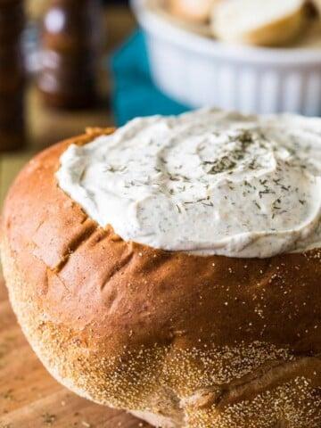 dill dip in a rye bread bowl