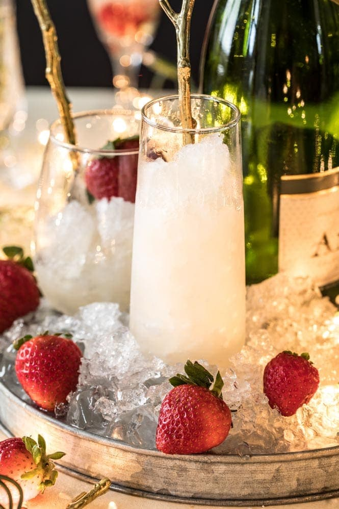 Champagne flute filled with champagne granita