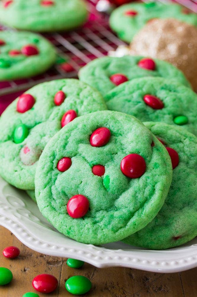 Green grinch cookies on plate