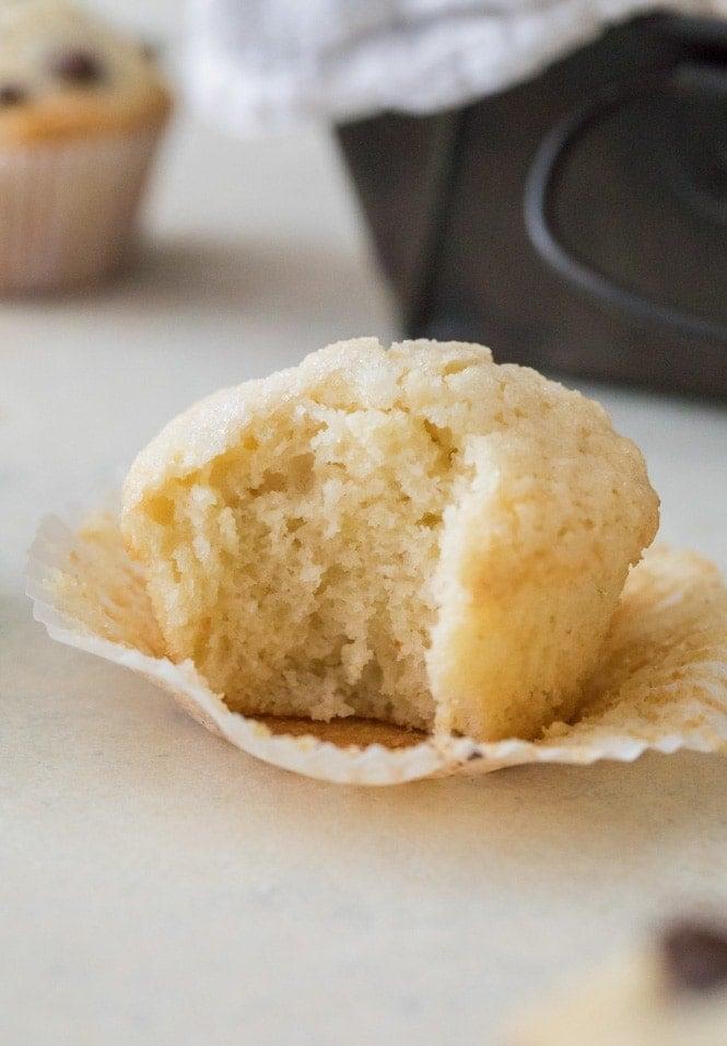 soft fluffy interior of muffin recipe