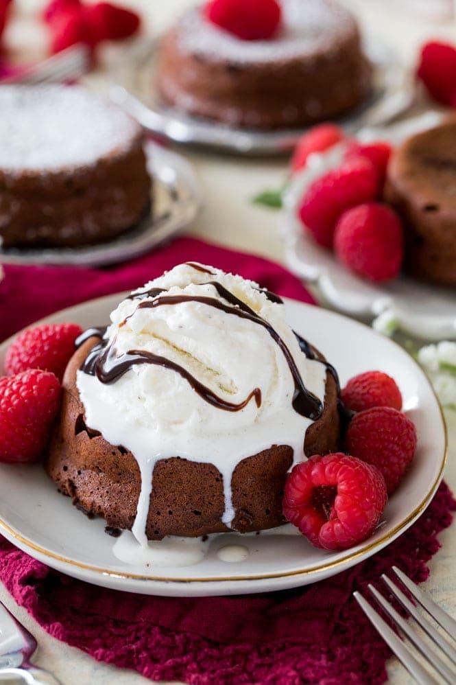 Chocolate lava cake topped with vanilla ice cream