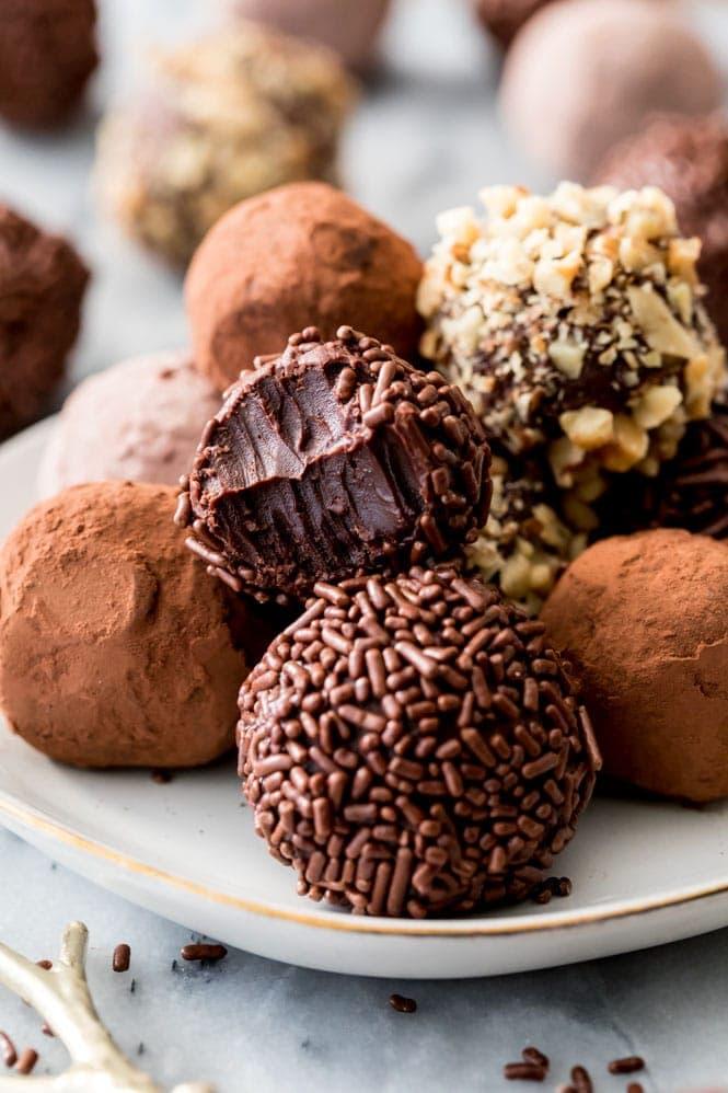 rich chocolatey interior of chocolate truffles