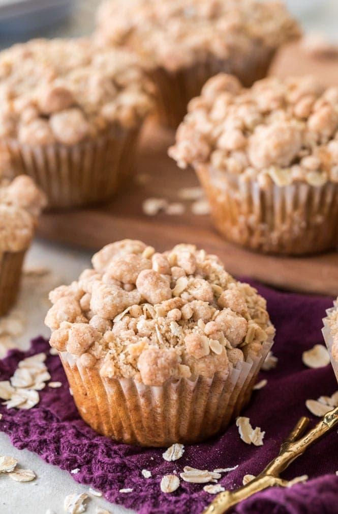 Freshly baked oatmeal muffin