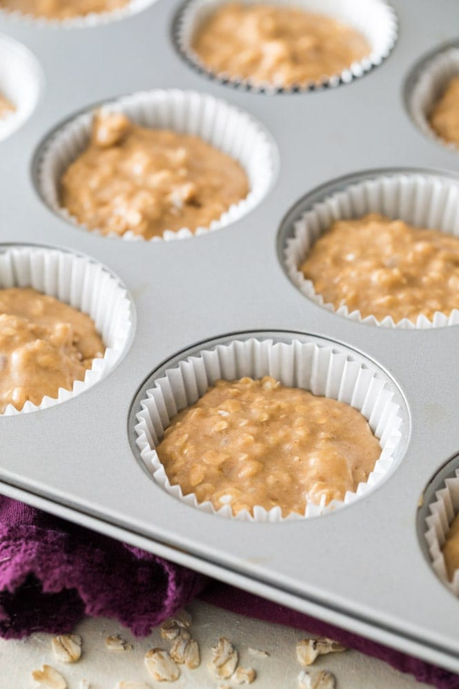 how to make oatmeal muffins: fill liners 3/4 full