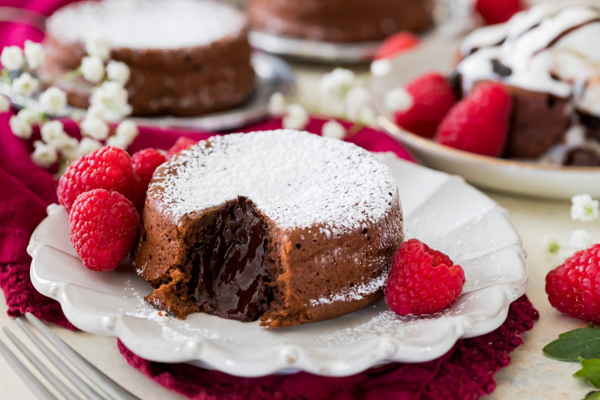 chocolate lava cakes on white plate