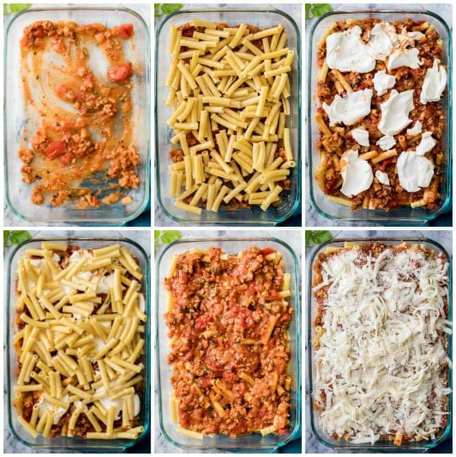 How to make baked ziti: steps for layering ziti in pan