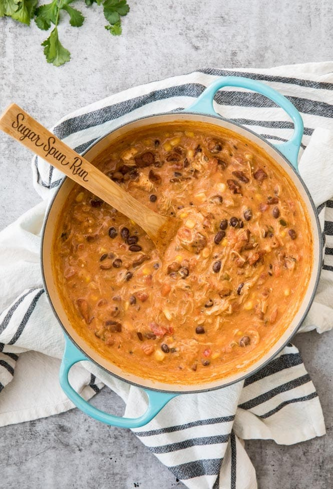 Pot of cooking Chicken Tortilla Soup