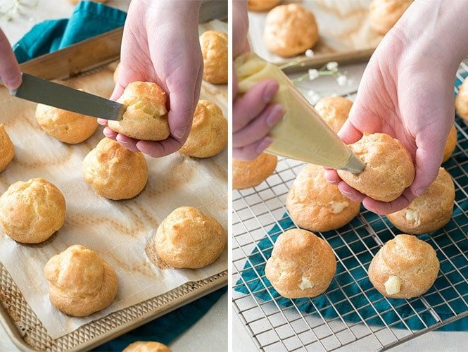 How to make cream puffs: piercing choux pastry after baking then filling with pastry cream