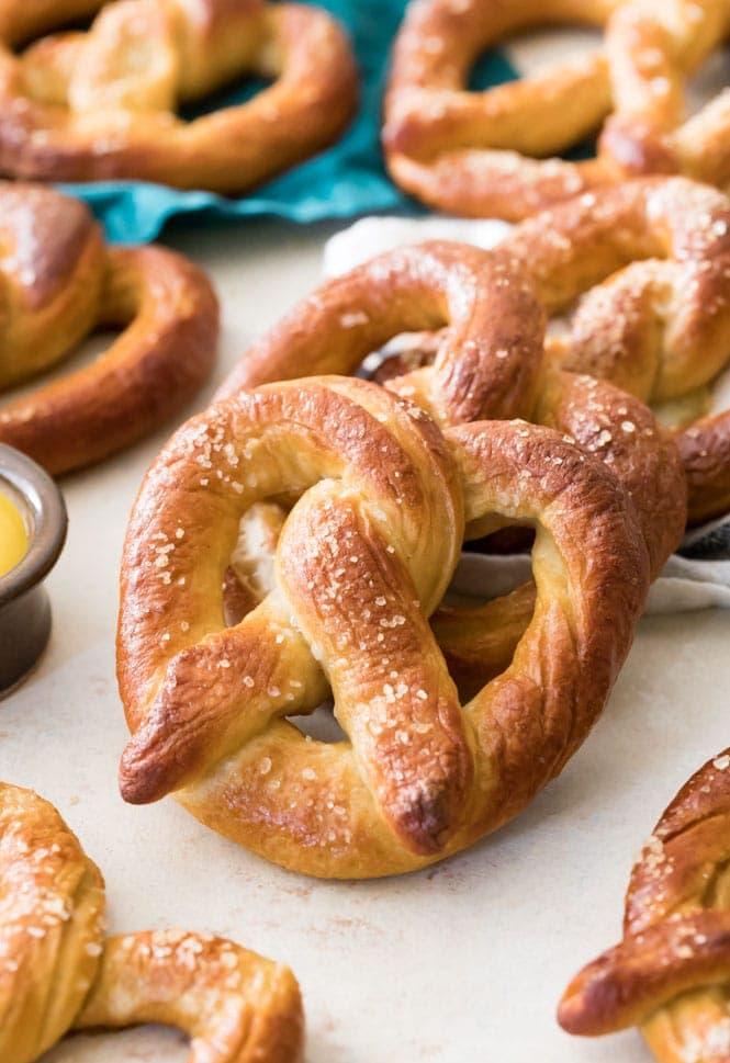 freshly baked soft pretzel