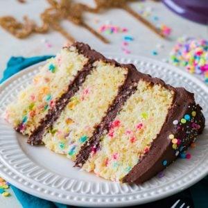 Slice of best birthday cake