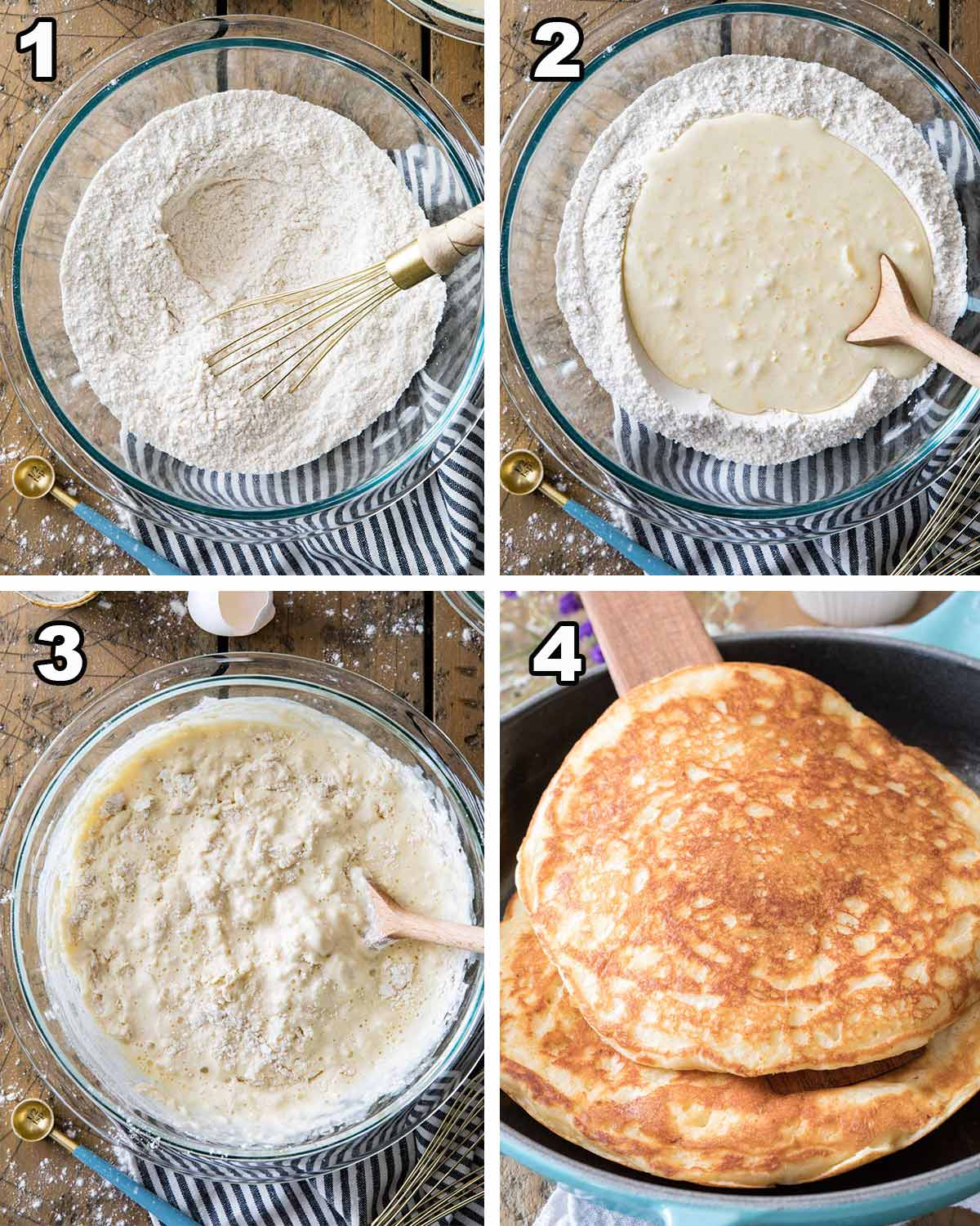 the 4 steps to making buttermilk pancakes