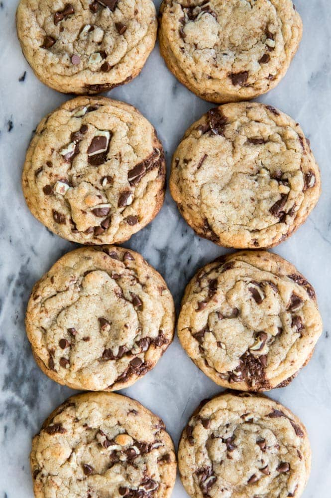 Mint chocolate chip cookies on marble slab