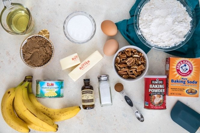 Ingredients for my Hummingbird Cake Recipe