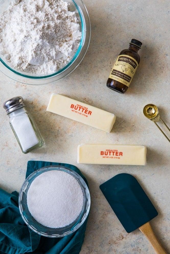 Ingredients for shortbread cookie recipe