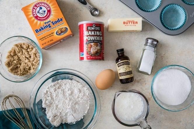 Ingredients for vanilla cupcake recipe