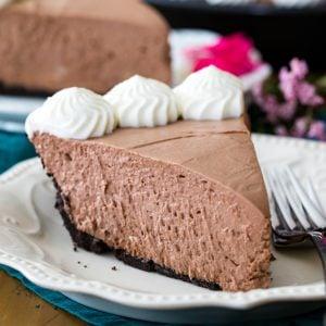Slice of chocolate icebox pie