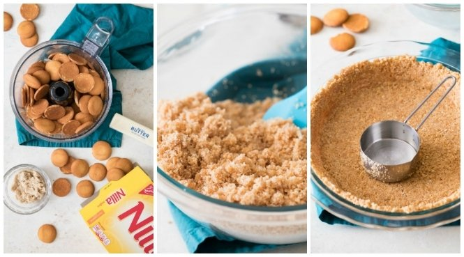 Collage of steps to make Banana Cream Pie crust