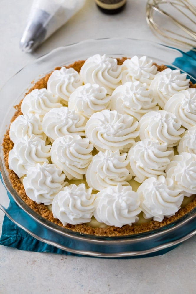 Banana cream pie topped with whipped cream