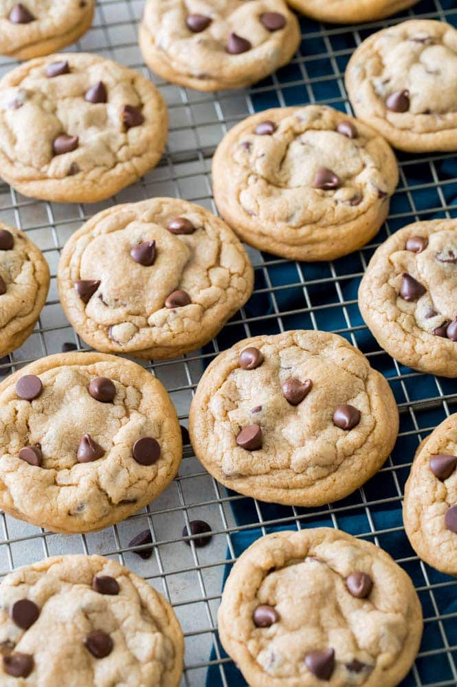 Freshly baked pudding cookies on cooling rack