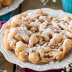 Funnel cake dusted with powdered sugar