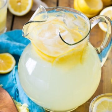 Lemonade in glass pitcher