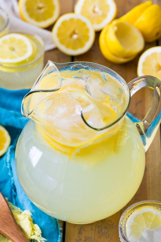 Pitcher of fresh lemonade