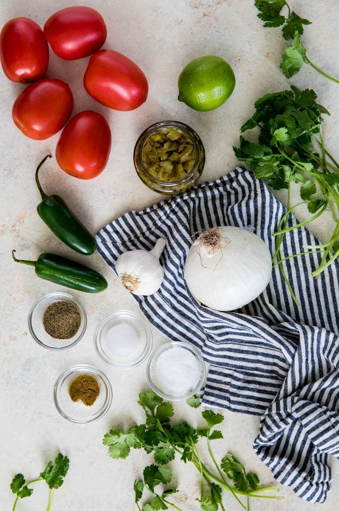 Ingredients for making homemade salsa
