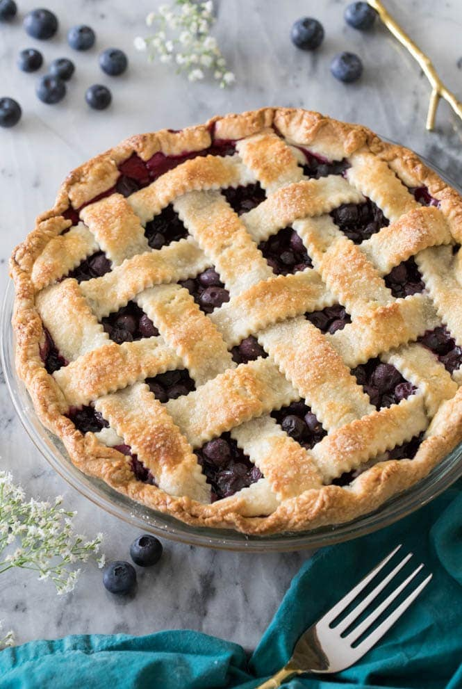 blueberry pie with lattice crust