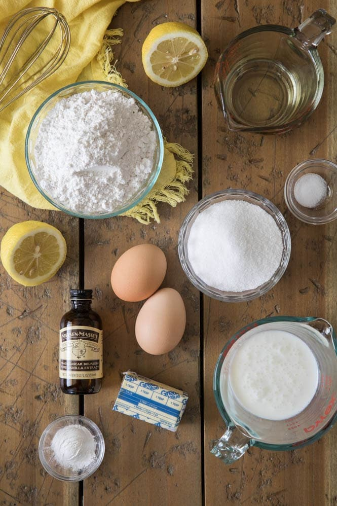 Ingredients for lemon cupcakes