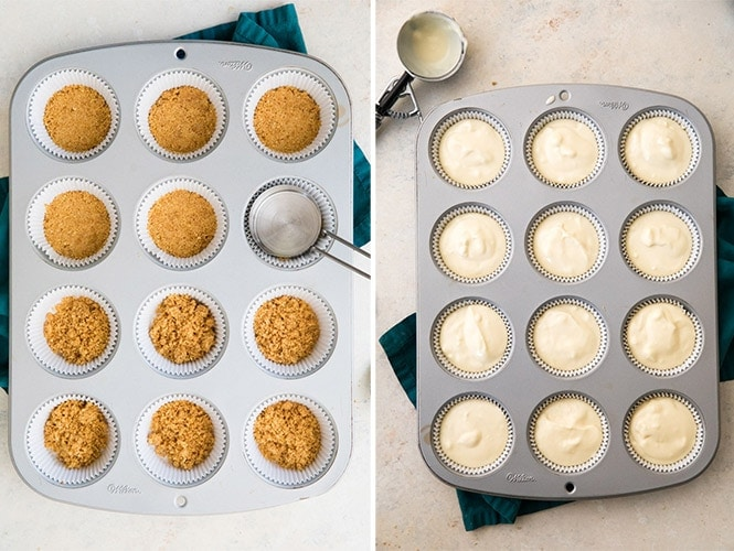 How to make mini cheesecakes: preparing crust and filling liners
