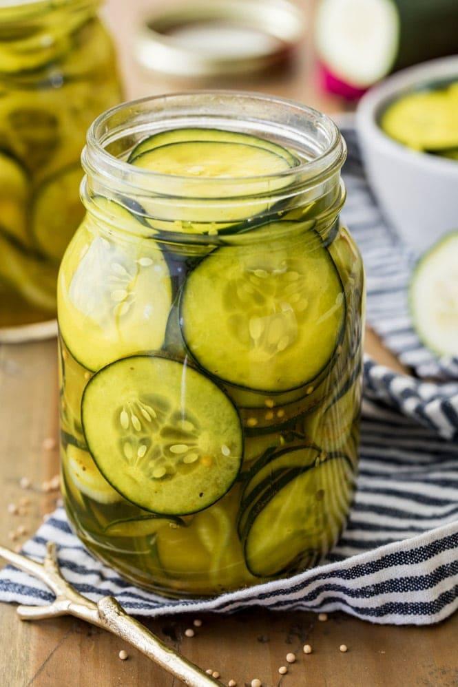 Homemade refrigerator pickles in glass jar