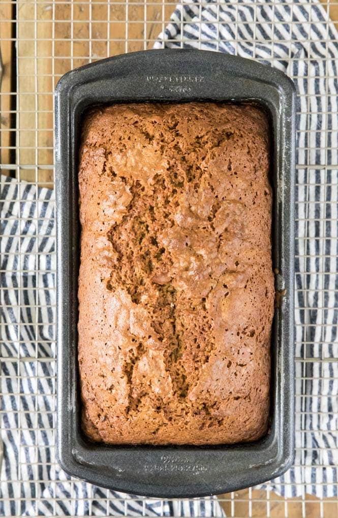 Freshly baked zucchini bread in bread pan