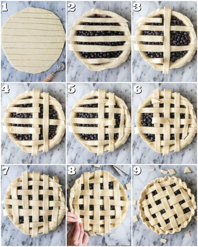 Collage of steps to make lattice pie