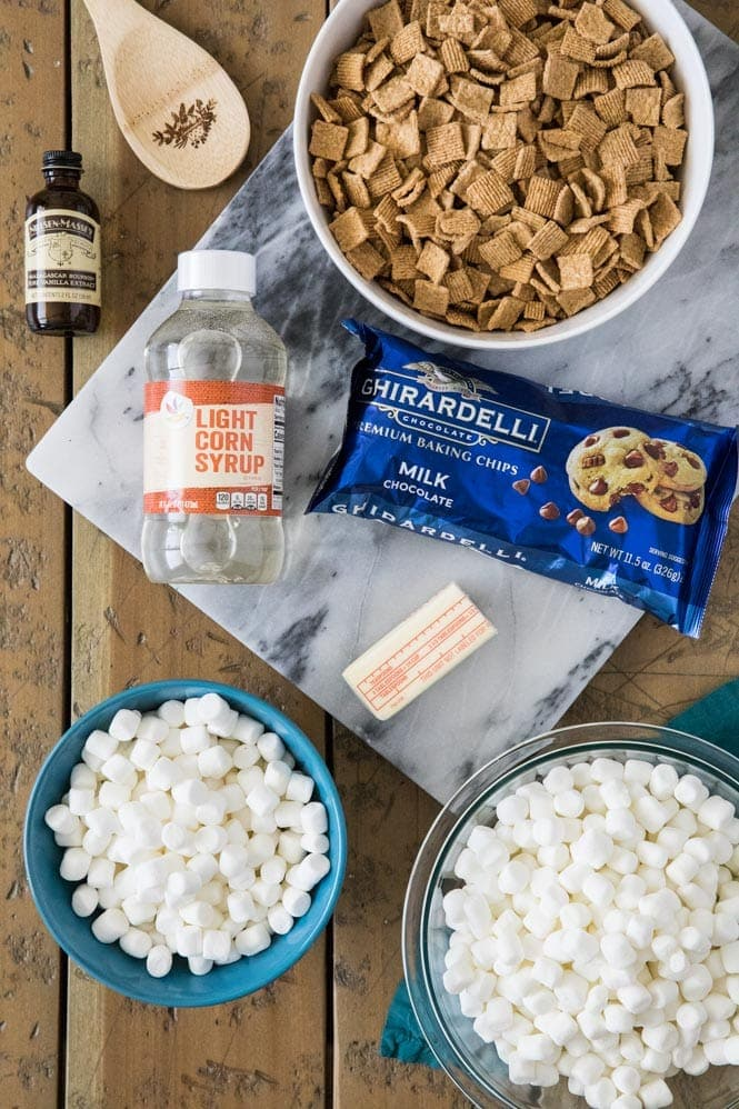 Ingredients for S\'mores cereal bars