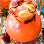 strawberry lemonade in pitcher