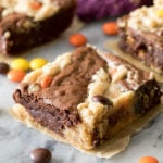 peanut butter brownies on marble surface