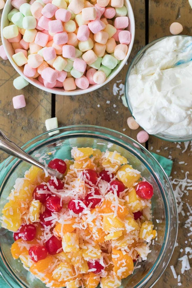 Ambrosia salad ingredients in bowls