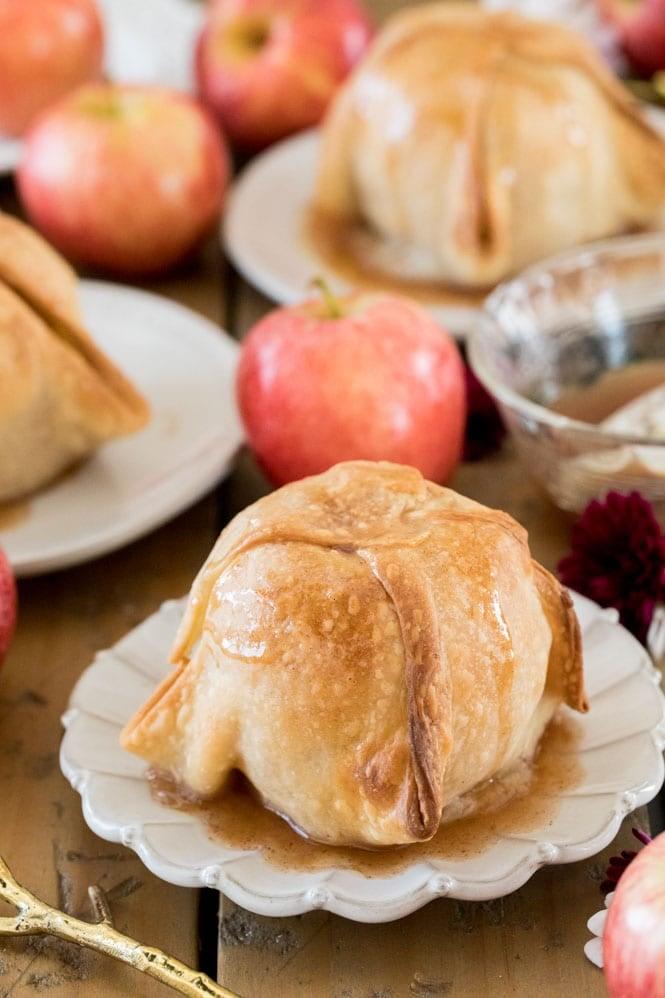 Apple Dumpling on white plate