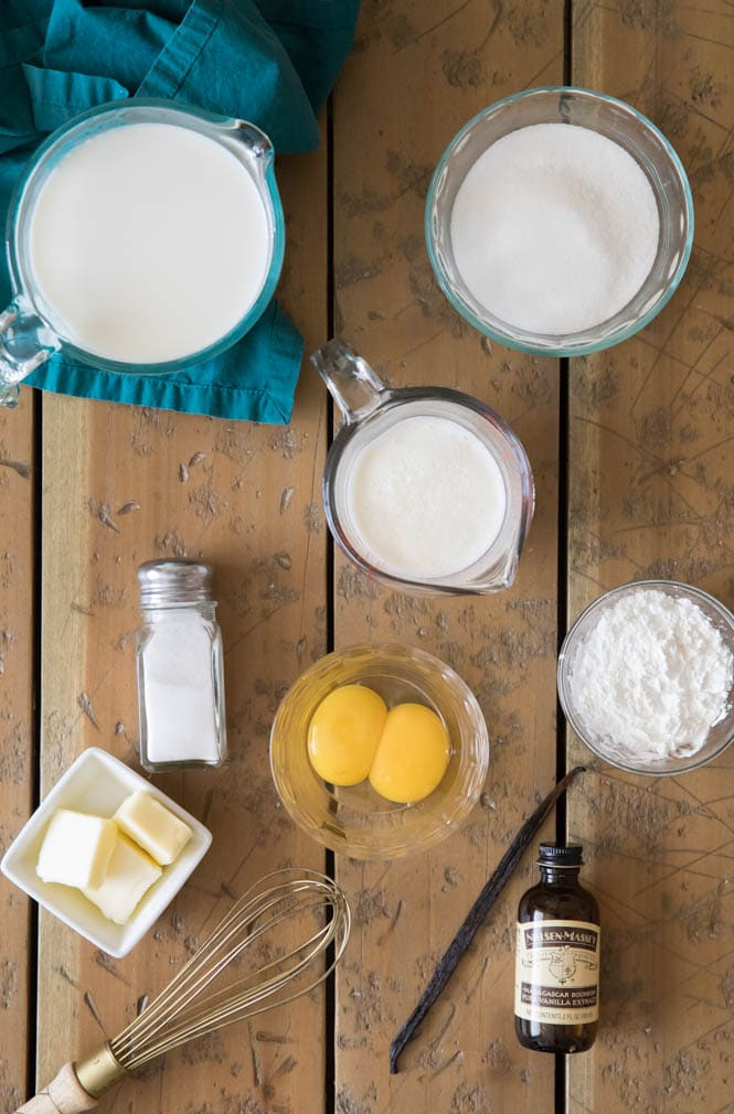 Ingredients for vanilla pudding