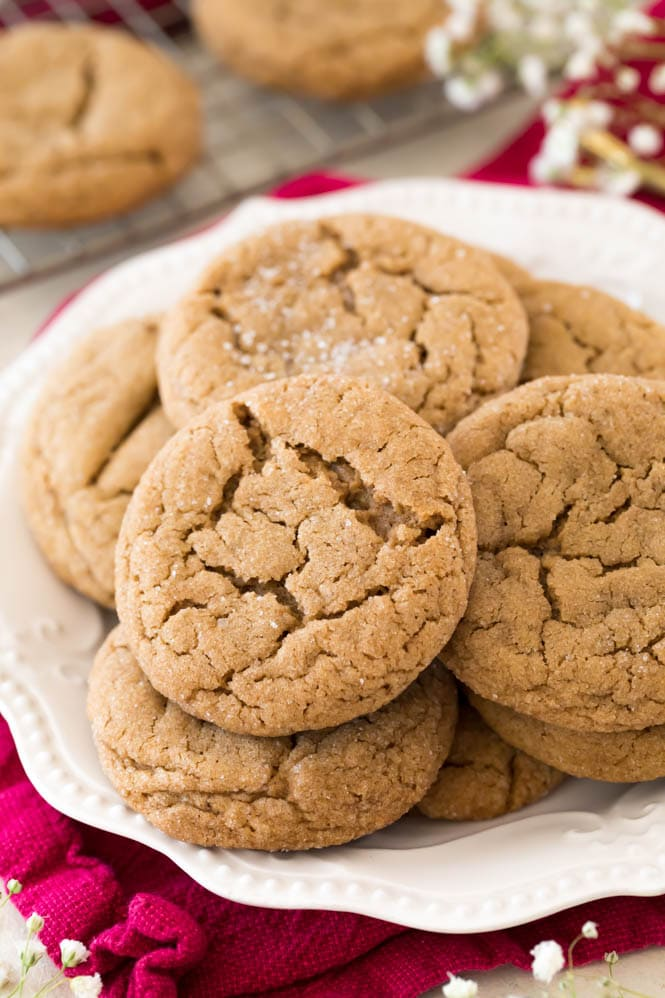 Soft gingersnap cookies on a white plate