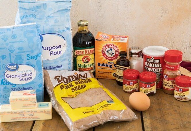Ingredients needed for soft gingersnap cookies