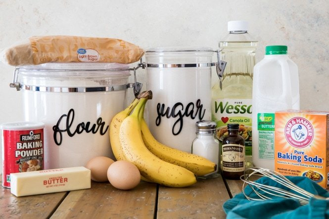 Ingredients for the best banana muffins recipe