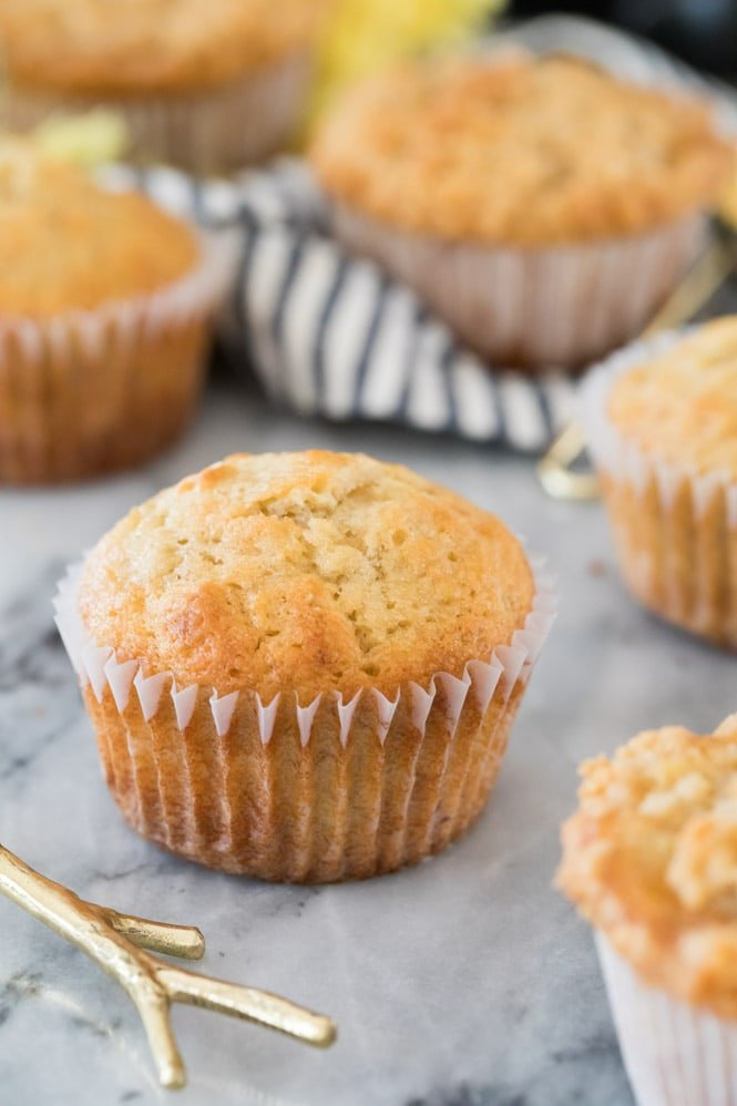 banana muffin with high muffin top in white liner
