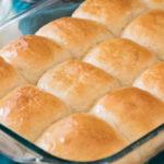 Dinner rolls in glass baking dish