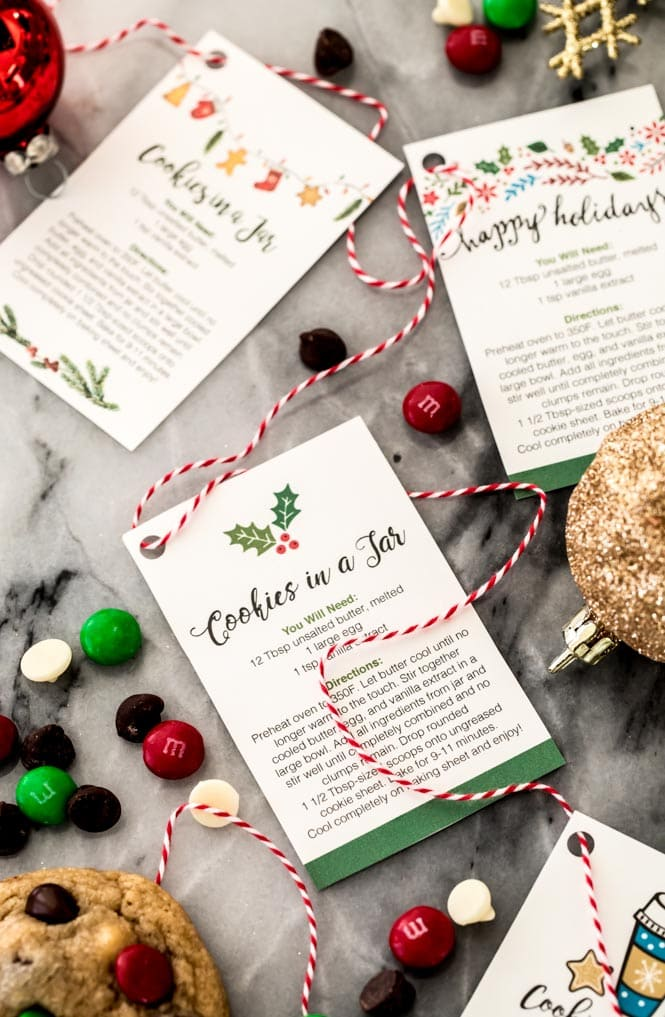 Holiday gift tags for cookie mix