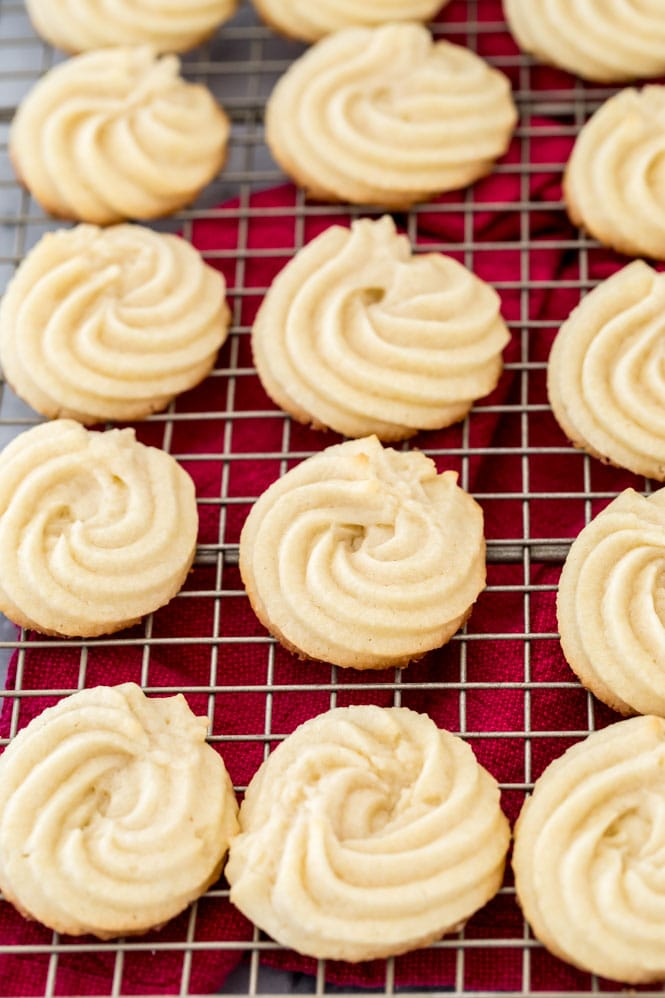 Butter cookies on cooling rack (not dipped in chocolate)