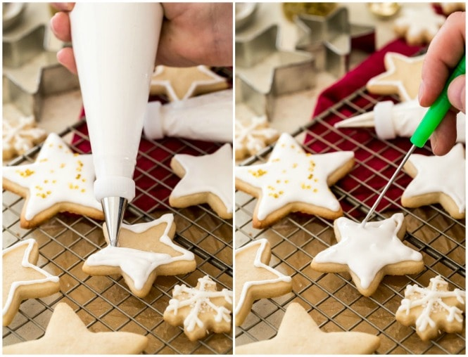 Decorating sugar cookies with outlining and flooding royal icing