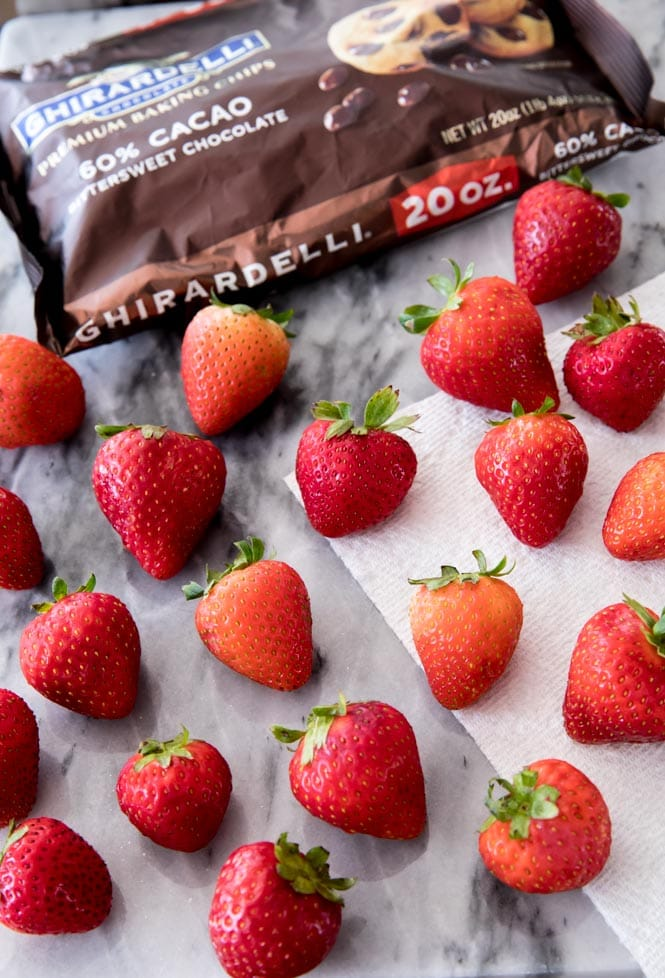 Ingredients for making chocolate covered strawberries: strawberries and premium chocolate