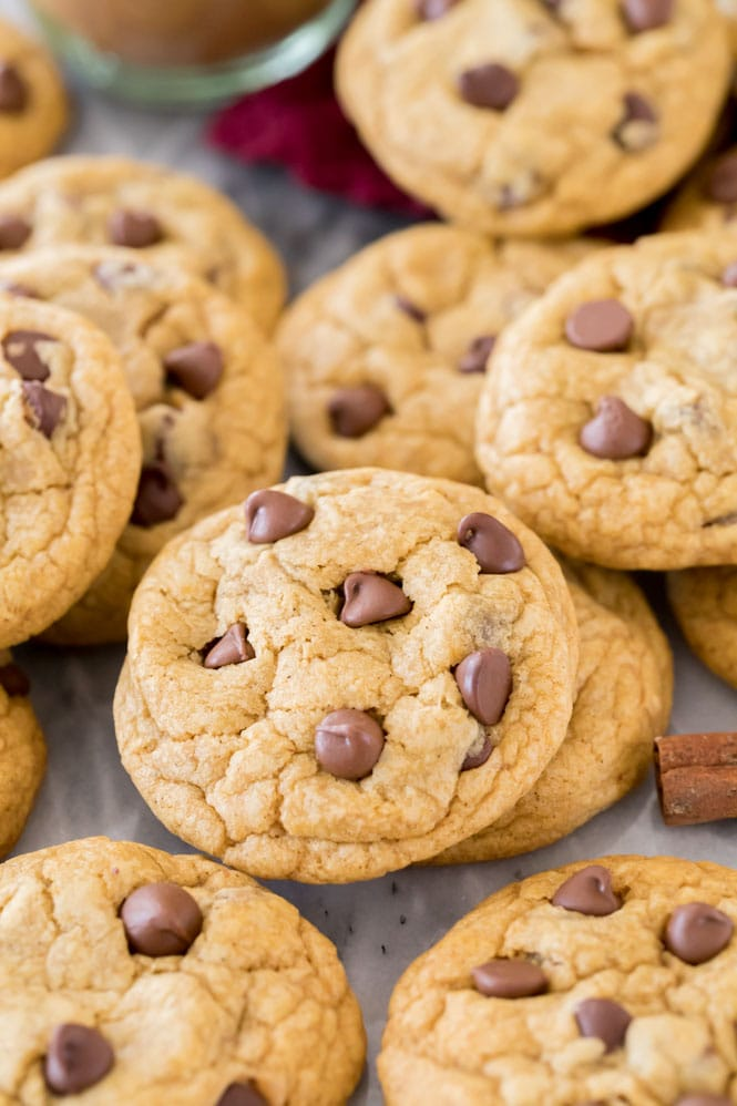 Chewy Pumpkin Chocolate Chip Cookies in a pile