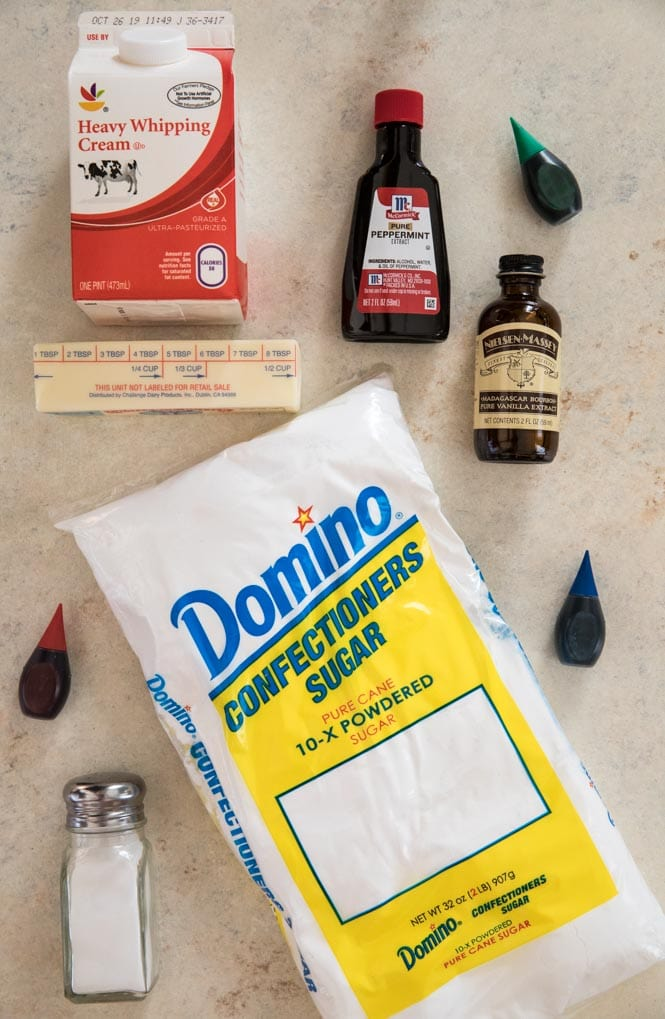 Ingredients for making butter mints